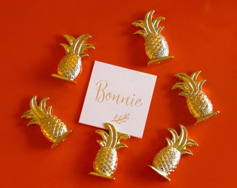 Set of 6 Gold Pineapple Place Card Holders // Pineapple Place Settings // Pineapple Photo Picture Holder