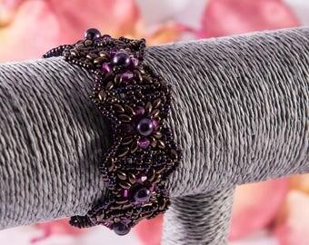 Beaded bracelet, cuff, dark violet and pink