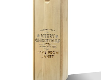 Personalised Wishing You A Merry Christmas Wooden Wine Box
