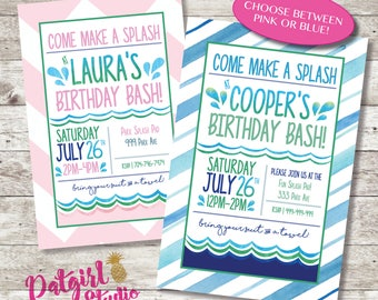 Summer Pool or splash pad Party Printable Invitation  4x6