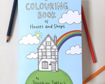 A Colouring Book of Houses and Shops - Coloring pages for adults and children, unique and quirky gift for her.