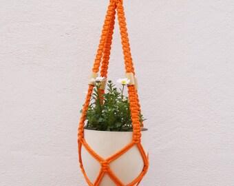 Macrame planter-macrame plant hanger-Cotton 100% orange color