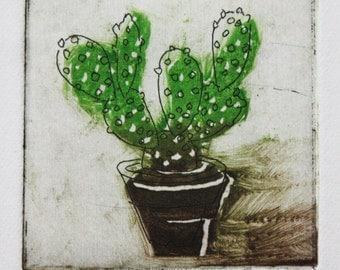 Tiny Cactus Multi-Plate Monoprint/Etching