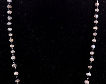 Labradorite Faceted Rondelles with Micro Faceted Black Spinel Necklace