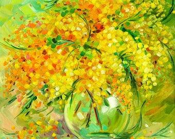 Oil textured painting Sunny mimosa, Painting Metsenatova, Bright art, Palette knife Art wall Decor home, Canvas Oil, Fine Art Mimosa Flowers