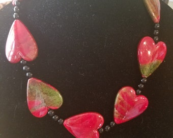 Heart Necklace with black beads