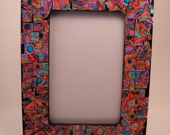 """Black and Multicolored Boho Paper Mosaic Tile 6"""" X 4"""" Frame"""