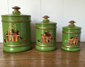 Vintage Aluminum Canisters, Vintage Kromex Canisters, Retro Avocado Green Canisters