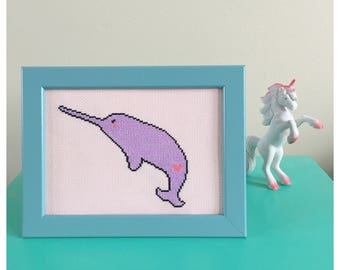 Narwhal pastel cross stitch in frame