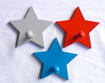 Wall hooks, Coat hooks,  Kids room decor, Kids wall hooks, Wall decorations - Star nursery decor