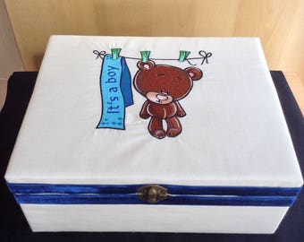 Machine embroidered Wooden Keepsake trinket memory box baby boy gift