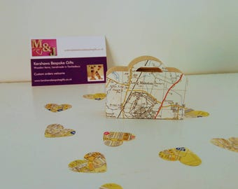 Wedding favours. Map covered suitcase wedding favours. Wedding gifts. Travel themed wedding favours.