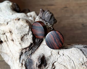 Silver earrings with ironwood