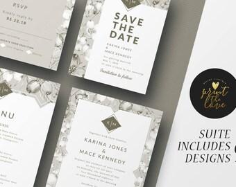 Printable Wedding Invitation Set, Printable Wedding Invitation Suite, Printable, Wedding invitation suite template, Karina Suite (WS031)