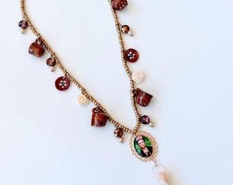 Frida Kahlo necklace, Frida Jewelry, Frida Kahlo, Tassel necklace, boho Necklace, jewelry set, Frida Kahlo set