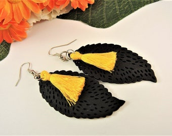 Black Lightweight Wood Laser Cut Leaf Shape Tear Drop Dangle Earrings with Yellow Colour Tassels  #10