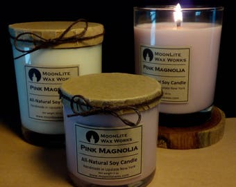 Pink Magnolia Handmade Scented Soy Candle| Hand Poured Candle | Candle Gift | Natural Candle | Floral Scent | Pink Candle