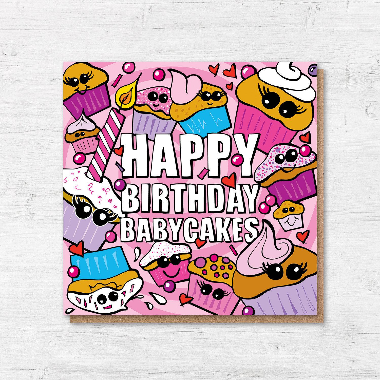 Birthday Card Girlfriend Happy Birthday Babycakes Cupcake