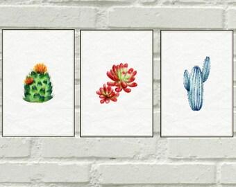 Three Watercolor Cactus Posters, Watercolor Suculents Posters, Modern Watercolor Art, Modern Digital Art, Digital Wall Art