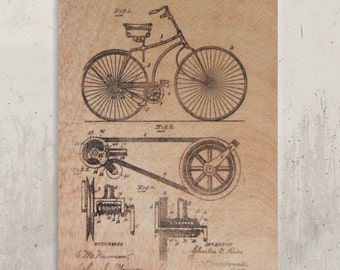 Pattern Bicycle - Old pattern bicycle, b & w / / Transfer on wood