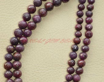 Only At My Shop - 22 Inch Strand, Natural Ruby Rounds, Ruby Faceted Round Ball Beads, 6-8 MM Size, Ruby Beads, Loose Gemstone Beads