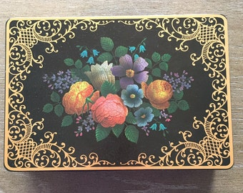 Decorative Metal Tin Box Black Floral Design