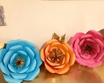 3D Giant paper flowers, set of 3 weding , birthday , baby shower back drop.