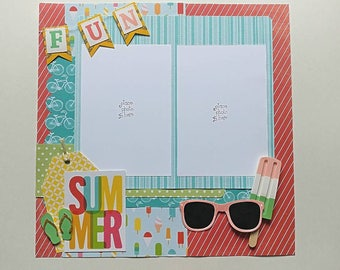 2-Page 12x12 Premade Scrapbook Layout, Summer Fun