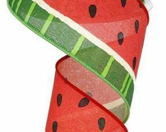 "2.5""X10yd Bold Watermelon On Royal Green/Pink"