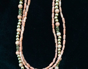 Coral and Gold Three Strand Necklace