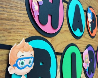 Bubble Guppies Birthday Banner, Happy Birthday, Black Chalkboard Look