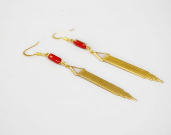 Art deco gold and Red brass earrings