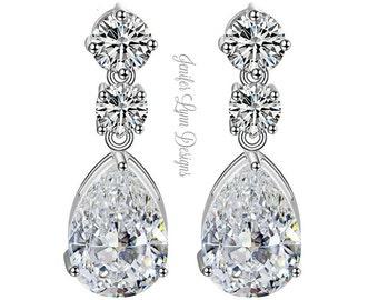 Bridal Earrings, Wedding Jewelry, Drop Earrings, Bridesmaid Gift, Silver Earrings, Dangle Earrings, Wedding Gown, Bridal Gown, Teardrop