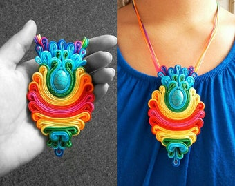 Pine Cone Rainbow Necklace, Soutache jewelry collection