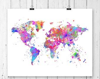 World Map #2 Watercolor Art Print, Poster, Wall Art, Contemporary Art, Modern Wall Decor, Office Decor