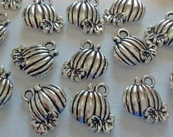 Clearance! 10 Pumpkin Charms Pendents : Jewelry Supplies ~ Findings - Fall Charms - DIY - #077