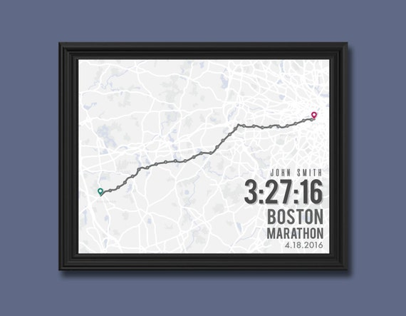 Boston Marathon Print Customizable Running Wall Decor