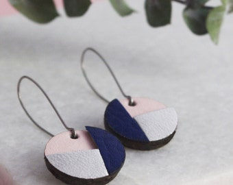 Woman Earrings- Maïssa Earrings- Blue Pink and Silver leather - Perfect Gift- Leather Jewelry
