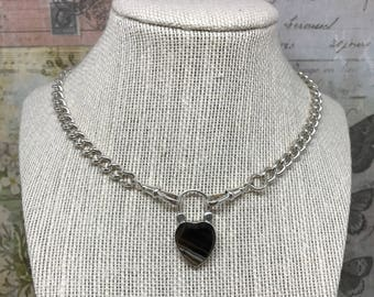 Vintage Banded Agate Padlock Necklace in Sterling Silver