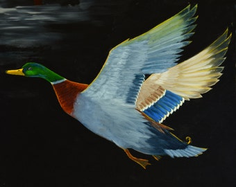 Mallard paintings, duck art, duck hunting, Large Oil Painting on Canvas