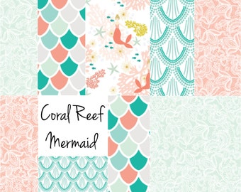 Mermaid Crib Sheet, Baby Swaddle | Mermaid Bedding, Coral, Teal, Nautical, Baby Girl, Nautical Nursery, Mermaid Nursery