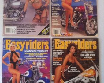 4 Vintage Easyrider Motorcycle Magazines, 1991 to 1994, Biker Items, Harley Davidson, Grand National Rodeo Coverage, 4 Magazine