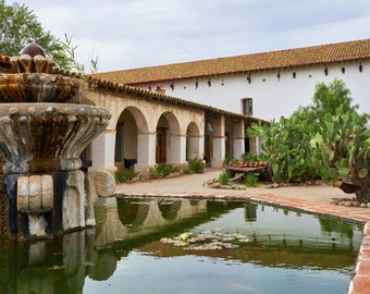 Mission San Miguel Fountain and Church; Santa Cruz, California; Fine Art Photographic Print