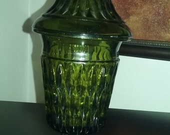 Vintage Green Indiana Glass Apothecary Candy Jar Dish With Lid