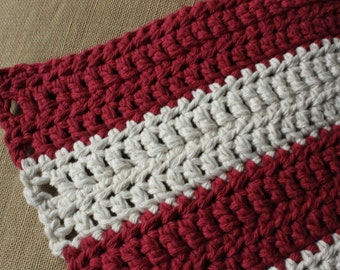 Thick Cotton Bathmat - Lobster Fishing (red/white, double-stranded cotton, hand-crocheted)