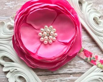 Hot Pink Baby Headband Floral Children Headband Photo Prop Floral Baby Headband