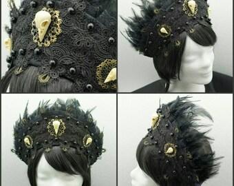 Raven Skull Kokoshnik, black Frenchhood with Raven skull applications