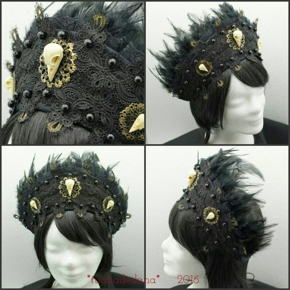 Raven skull Kokoshnik, black Frenchhood with Raven skull applications