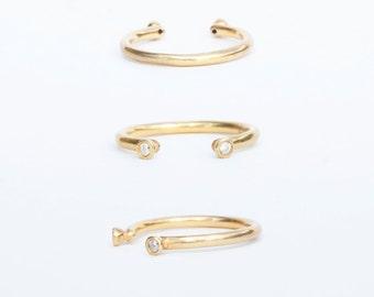 Gold ring - white cz ring - thin gold ring - open ring - gold cz ring - open cz ring - zodiac - gold ring - tiny cz ring - J11307