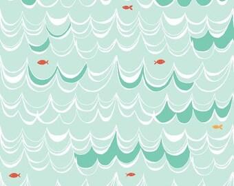 Organic Cotton fabric. Monaluna fabric. Under the sea. Swim waves, ocean, fish, mint white red orange, marine life sea